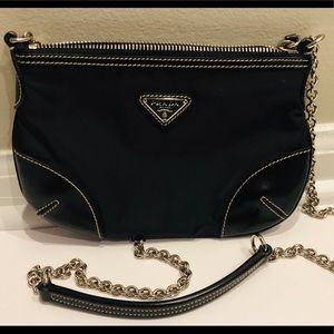 0ea7512f3486 ... authentic prada black nylon leather purse chain strap ae65a 2083a